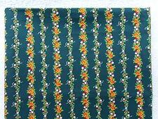 VINTAGE RARE & OOP Peter Pan Fabrics Inc PINK & ORANGE FLORAL STRIPE on GREEN