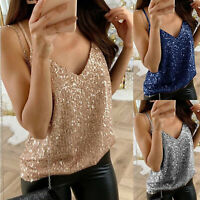 Women Glitter Sequin Strappy V-Neck Vest Tank Tops Ladies Casual Camisole Blouse
