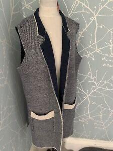 Yida Made In Italy Long Line Italian Yarn Sleeveless Cardigan Extra Large