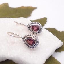 Granat rot Tropfen Design Ohrringe Hänger Ohrhänger Haken 925 Sterling Silber