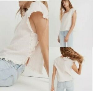 NWT Women's Size XL Madewell Ruffled Side Tie Cotton Stripe Cap Sleeve Top