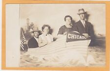 Real Photo Postcard RPPC Two Men Two Women in Boat Studio Prop Chicago Pennant