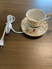 Scentsy ENGLISH BREAKFAST Tea Cup Warmer Retired Authentic Gold Accents