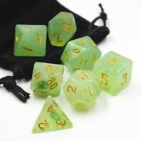 7Pcs Set Resin Polyhedral Dice DND RPG MTG Role Playing Game Green With Bag
