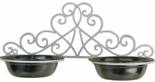 Ornate French Provincial Country Iron Wall Mounted Dog Cat Pet Feeding Bowl