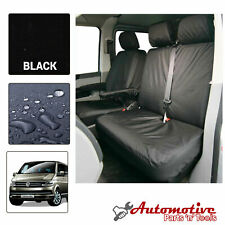 Black Tailored Seat Covers for VW Transporter T5 T6 Soft Front Driver Passengers