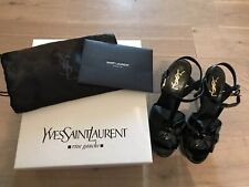 Saint Laurent YSL Tribute Black Patent Leather Sandals Size 37.5