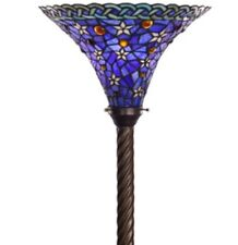 """Antique Tiffany-style Blue Star Torchiere Lamp Tiffany Lamps Torch Floor 72"""""""