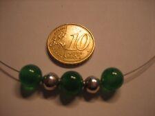 Collier 3 grüne Achat Kugeln mit Silberkugeln 925 - NEU - 42 cm