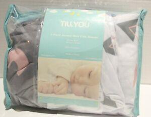 TILLYOU Jersey Knit Mini Crib Sheets 3pk ABCs, Gray, Triangles