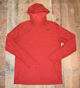 Nike Breathe Hyper Dry Hoodie Men Medium Heathered Red Performance Lightweight