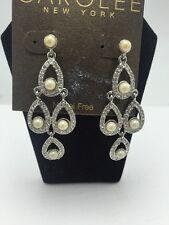 $50 Carolee Silver Tone Glass Pearl & Crystal  Chandelier Earrings #412