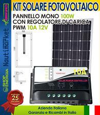 KIT Solare Fotovoltaico 100W 12V Mono + Regolatore PWM 10A Nautica-Camper-Baita