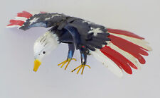 "YARD ART METAL AMERICAN EAGLE SCULPTURE BIRD FIGURE 30"" WINGSPAN USA FLAG"