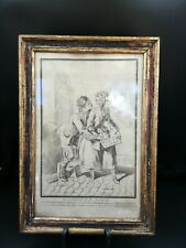 Gravure Du XIX. Le Décroteur Et La Marmotte