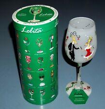 Lolita Reindeer Holiday Christmas Wine Glass Hand Painted - New