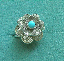 """""""BLUE BUTTERCUP""""  Silver Tone Ring - Sarah Coventry Jewelry - Sara Cov - Vtg"""