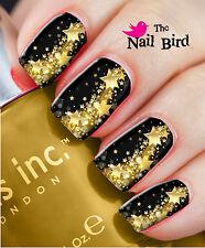 Nail Art Nail Decals Nail Transfers Nail Wraps Gold Colour PARTY STARS Xmas Gift