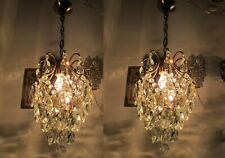A Pair Antique Vintage Cage Style Crystal Chandelier lamp light 1940s 9in dmtr*