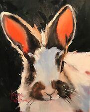 Norma Wilson Original Oil Rabbit Bunny Animal Impressionism Painting Art