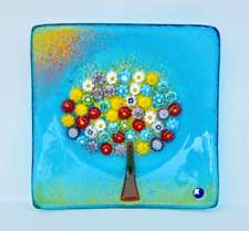 Murano Glass Tree of Life Plate, M Turquoise  4.5""