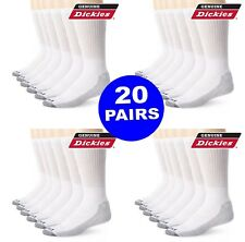 20 Pair Dickies Crew Work Socks Dri-Tech Mens 6-12 Extra Thick Reinforced White