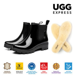【EXTRA20%OFF】UGG Women Rain Boots PVC Gumboots Black Boots Sheepskin Wool Insole