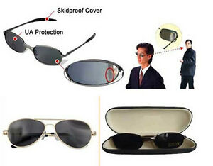 Anti-tracking Sunglasses Rearview Spy Glasses Behind View Side Mirror with Box