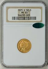 1925-D NGC MS63 Gold Quarter Eagle / CAC - Green Label