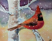 Hand Painted Original Watercolor NORTHERN CARDINAL Garden Bird Signed by JV