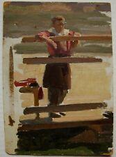 Russian Ukrainian Soviet Oil Painting realism child's Portrait figure 1950s