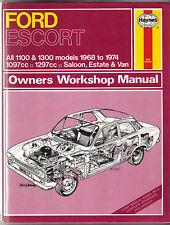 FORD ESCORT 1100 e 1300 Saloon Estate Van 1968-74 Haynes Proprietari Manuale di Officina