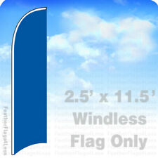 Solid Color Blue - Windless Swooper Feather Flag Banner Sign 2.5x11.5' - bb