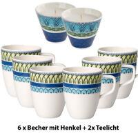 VILLEROY & BOCH 6er Set Casale Blu Carla Kaffee-Becher Tasse inkl. 2x Teelicht