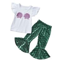 2pcs Kids Girls Shell Cup Sleeves Tops+Mermaid Wide Leg Pants Clothes Set