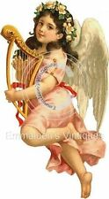 Vintage Image Victorian Shabby Angel With Harp Waterslide Decals ANG018