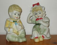 Collectible Bisque Porcelain Babies Piano Pair Boy & Girl
