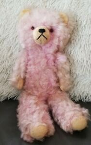 """Vintage or Antique? 15"""" PINK TEDDY BEAR Excelsior Stuffed, Jointed Arms & Legs"""