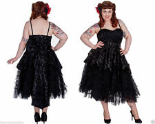 HELL BUNNY Black Gothic Victorian Steampunk Vintage Party Prom Cocktail Dress
