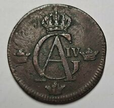 1802 SWEDEN 1/2 SKILLING Overstrike of 1742 1 ORE Date Visible KM565