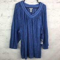 Catherines Blouse Womens 3X Blue Lace Lined Sheer Sleeves Vneck Top peasant