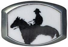 fronhofer Hebilla con COWBOY PLATA, 4cm, Cowboy Hebilla, Película oeste, hombre
