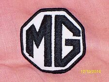 "Vintage British Leyland MG Embroidered Iron-On Patch Black White 2 5/8"" Diameter"