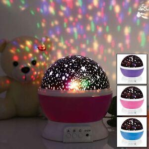 ROTATING LED LIGHT PROJECTOR KIDS BABY MOOD LAMP NIGHT XMAS GIFT STAR MOON SKY