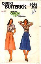 Vintage 1970s Butterick Sewing Pattern Women's SHIRT WRAP SKIRT 6035 Sz 12 UNCUT