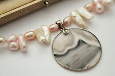 CULTURED PEARL NECKLACE WITH SILVER AGATE PENDANT - GORGEOUS !