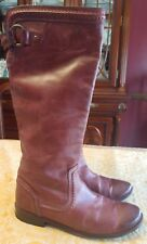 FRYE PAIGE TRAPUNTO  Redwood Distressed Leather Tall Boots, Size 8.5