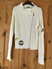 FUNKY DIVA Ladies Cream Wide Ribbed Zipped Logo Cardigan Size M/L