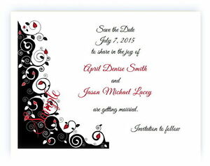 100 Personalized Custom Black Rose Floral Bridal Wedding Save The Date Cards
