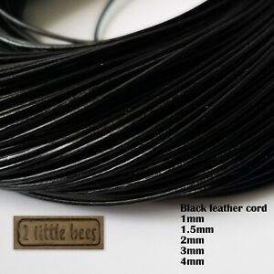 Black Leather Cord Real Round 1/1.5/2/3/4mm Beading Jewellery String Thread